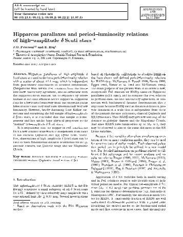 Hipparcos parallaxes and and period-luminosity relations of high ...