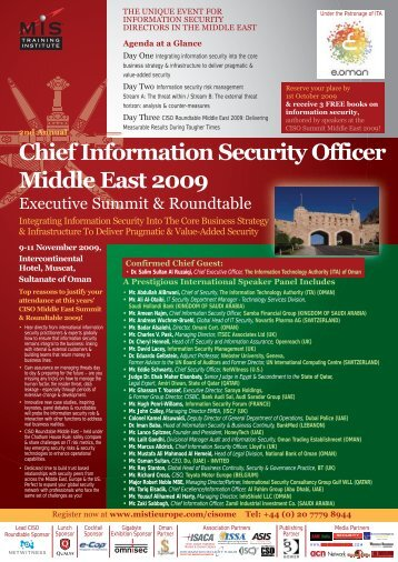 Chief Information Security Officer Middle East 2009 - MIS Training
