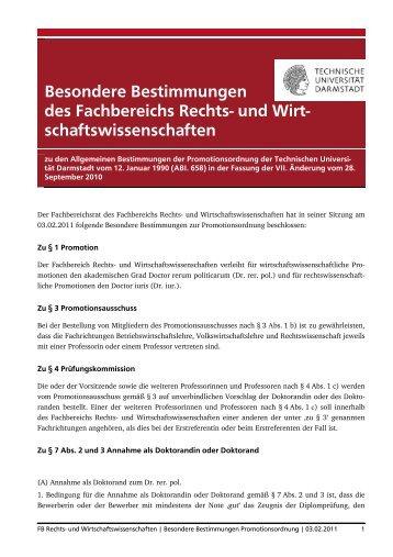 Besondere Bestimmungen des Fachbereichs Rechts- und Wirt ...