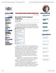 Nanotech finds biological inspiration -- The Washington Times
