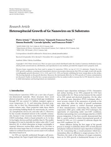 Heteroepitaxial Growth of Ge Nanowires on Si ... - ResearchGate