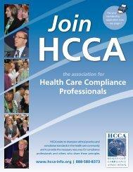 HCCA Membership Brochure - Health Care Compliance Association