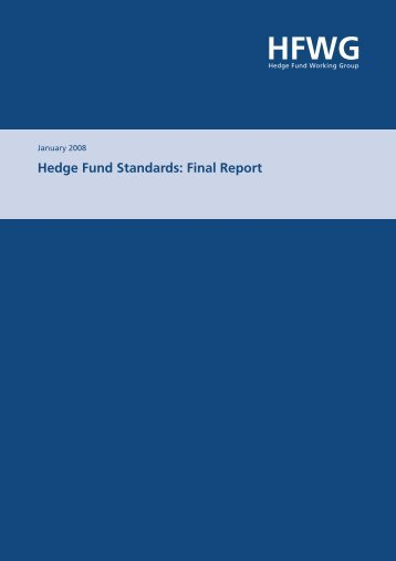 Hedge Fund Standards: Final Report - Bahamas Financial Services ...