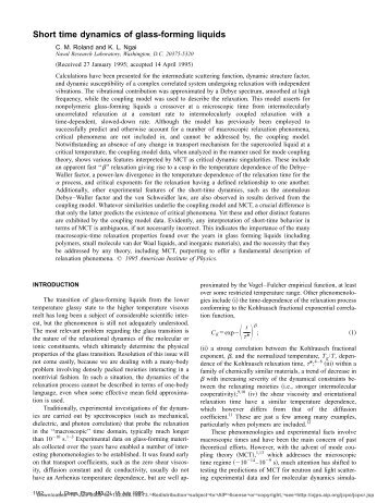 Short time dynamics of glass-forming liquids - Polymer Physics