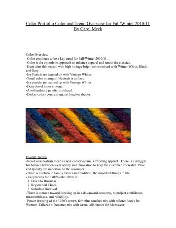 Color Portfolio Color and Trend Overview for Fall/Winter 2010/11