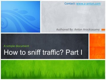 How to sniff traffic? Part I - The Cisco Learning Network