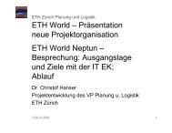 Aktueller Stand des Virtuellen Campus Schweiz - ITEK - ETH Zürich