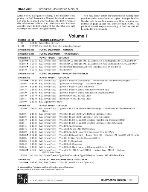 Information Bulletin 112T - S&C Electric Company