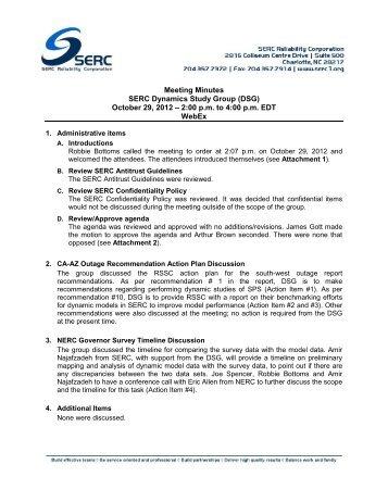 SERC DSG Meeting Minutes - SERC Home Page