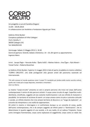 Comunicato stampa - Fondazione Vignato per l'Arte