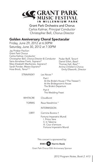 Golden Anniversary Choral Spectacular - The Grant Park Music ...