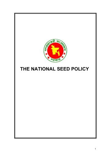 The National Seed Policy - DAE