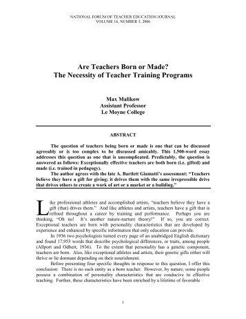 Are Teachers Born or Made? The Necessity of Teacher Training ...