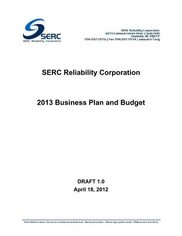 SERC Reliability Corporation 2013 Business Plan and Budget - NERC