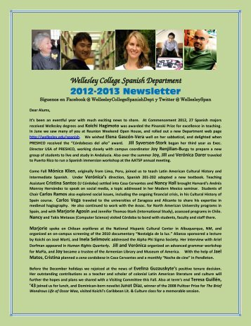 Wellesley College Spanish Department 2012-2013 Newsletter