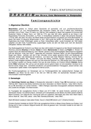Link 02.Familiengeschichte DRAHEIM I, 70 KB - Draheim, Horst