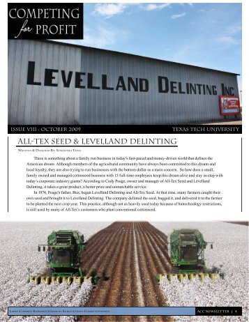 All-Tex Seed & Levelland Delinting - Department of Agricultural and ...