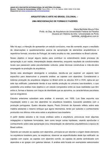 ARQUITETURA E ARTE NO BRASIL COLONIAL - CERES Caicó ...