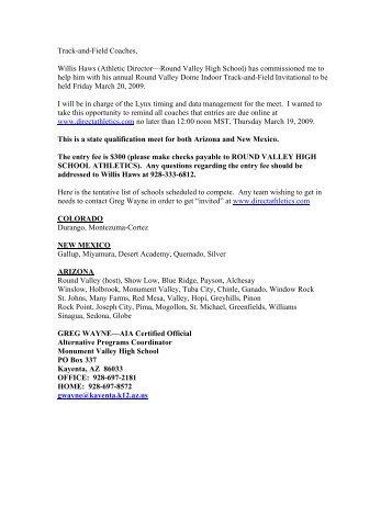 3/10/09 Round Valley Dome Indoor Meet ... - Arizonatrack.com