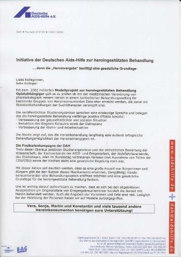 Initiative der Deutschen Aids-Hilfe zur heroingestützten Behandlung
