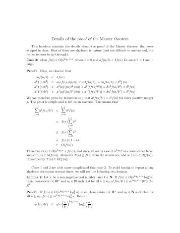 Details of the proof of the Master theorem - Ugrad.cs.ubc.ca