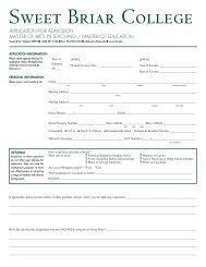 Application - Sweet Briar College