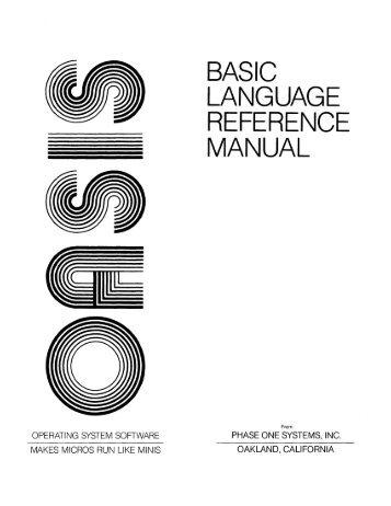 BASIC LANGUAGE REFERENCE MANUAL - Al Kossow's Bitsavers