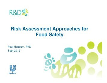 Risk Assessment Approaches for Food Safety - ILSI India