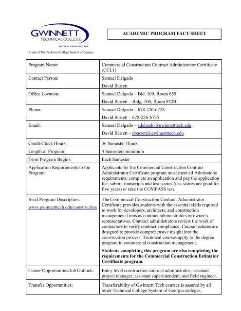 Commercial Construction Contract Administrator Certificate