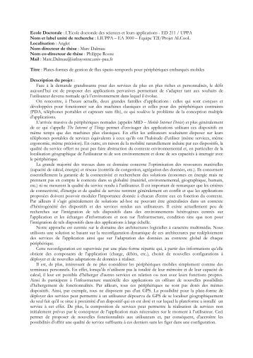 Plates-formes de gestion de flux spatio-temporels ... - IUT Bayonne