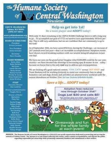Fall 2012 - Humane Society of Central Washington