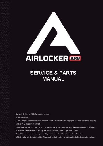 AIR LOCKER SERVICE & PARTS MANUAL - ARB
