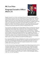 BG Lee Price Program Executive Officer PEO C3T - AFCEA Belvoir