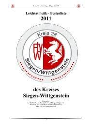 Leichtathletik - Bestenliste 2011 des Kreises Siegen-Wittgenstein