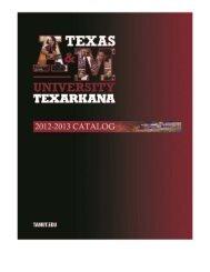 Catalog - Texas A&M University-Texarkana