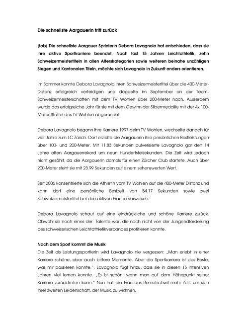 Die schnellste Aargauerin tritt zurück - ALV
