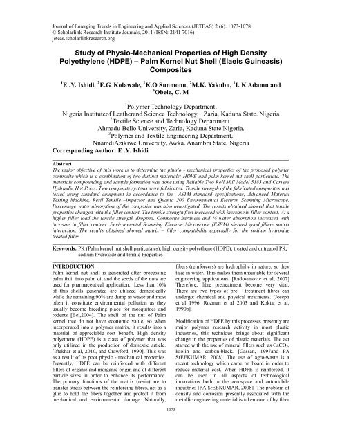 Study of Physio-Mechanical Properties of High Density