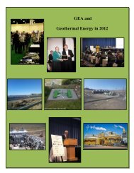 GEA and Geothermal Energy in 2012