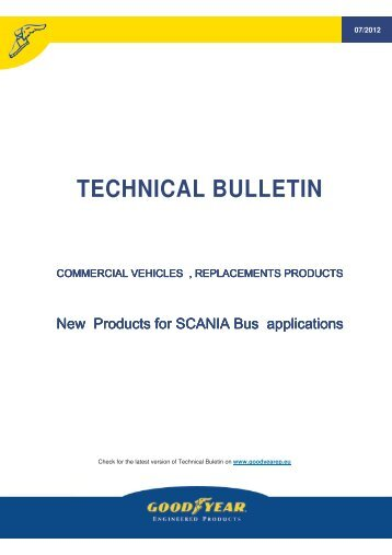 Technical bulletin, new Scania bus part, 07/2012 - Online catalogue