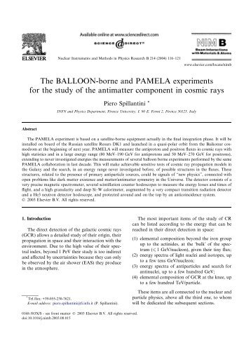 The BALLOON-borne and PAMELA experiments for the study ... - Infn