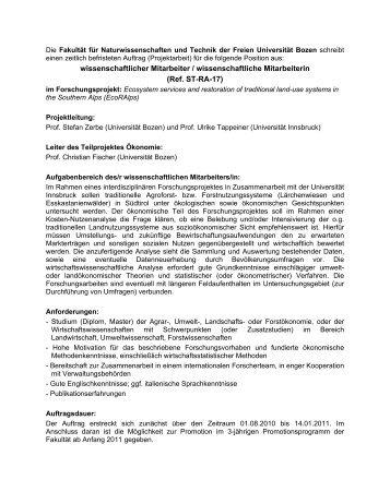 wissenschaftlicher Mitarbeiter / wissenschaftliche Mitarbeiterin (Ref ...