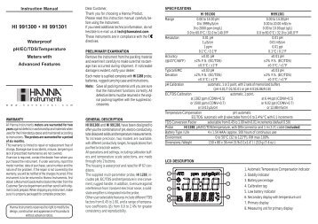 HI 991300 • HI 991301 - HANNA instruments