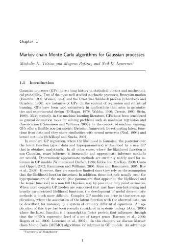 Markov chain Monte Carlo algorithms for Gaussian processes