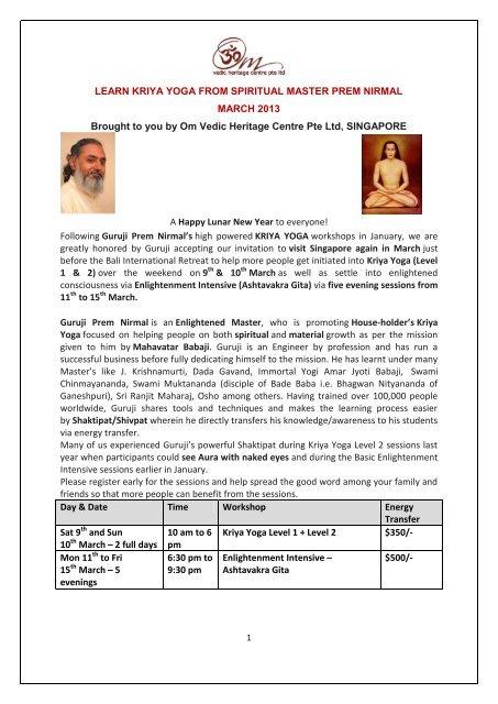 Kriya Yoga Workshops March 2013 Pdf Om Vedic Heritage