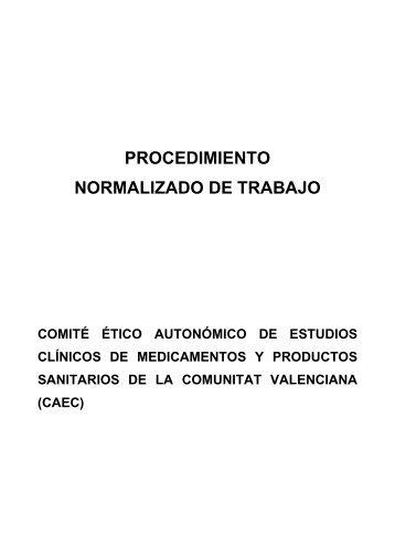 procedimiento normalizado de trabajo - Conselleria de Sanitat