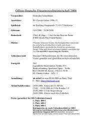 Offene Deutsche Fraueneinzelmeisterschaft 2008 - beim Hamburger ...