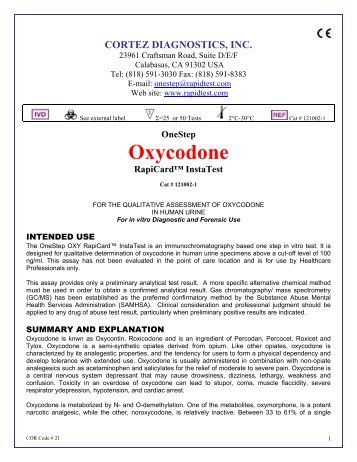 Oxycodone - ELISA kits - Rapid tests