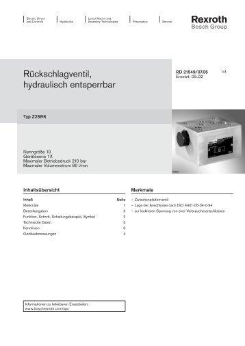 Rückschlagventil, hydraulisch entsperrbar - Bosch Rexroth