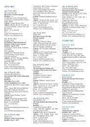 calendar of festivals - cifej