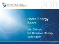 An Overview of the Home Energy Score - Solar Decathlon